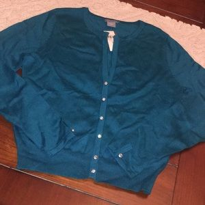 Ann Taylor Turquoise silk cashmere cardigan md nwt